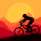 Mountain bike rider in wild mountain nature landscape background — Stock Vector
