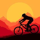 Mountain bike rider in wild mountain nature landscape background — Stock Vector