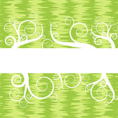 Green vintage background with floral scrolls vector — ストックベクタ