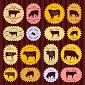 Et ve süt sığır çiftçiler gıda etiketleri illüstrasyon col pazar — Stok Vektör