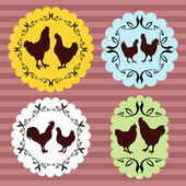Farm chickens egg and meat labels illustration collection vector — Stock Vector