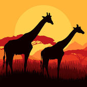Giraffe family silhouettes in Africa wild nature mountain landsc — Stock Vector