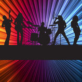 Rock band vector background with neon lights — Stock Vector