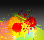 Colorful bright ink splashes on dark background — Stock Vector