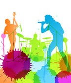 Rock pop band colorful spots and splash vector — Stock Vector