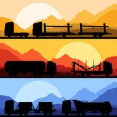Highway truck wild nature landscape background illustration — Stock Vector