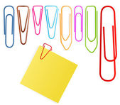 Paper clip set vector background with note paper — Stock Vector
