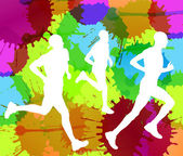 Runners abstract color splash vector background — Stock Vector