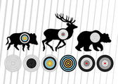 Shooting range wild boar, deer and bear hunting targets silhouet — Stock Vector