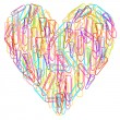 Colorful paper clips heart abstract vector isolated — Stock Vector