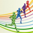 Marathon runners in colorful rainbow landscape background — Stock Vector