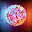 Neon disco ball background vector - Stock Vector