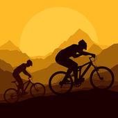 Coureurs de vélo de montagne en vecteur de nature sauvage de montagne — Vecteur