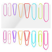 Paper clip set vector background — Stock Vector