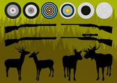 Shooting range wild deer, elk and moose silhouettes and guns vec — Stock Vector