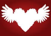 крылья перо и фон вектора сердца любви — Cтоковый вектор