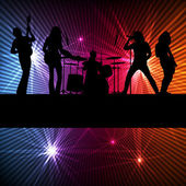 Rock band vector background with neon — Stock Vector