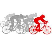 Cyklista vůdce vítěz pozadí — Stock vektor