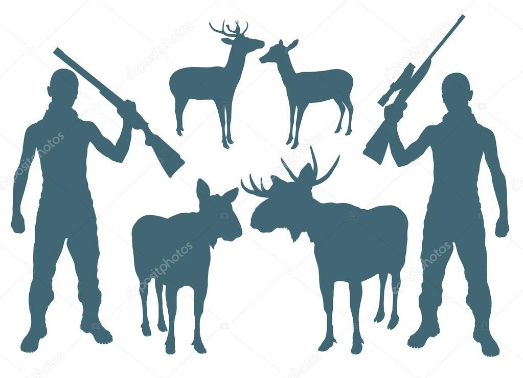 猎人和鹿矢量背景 — 图库矢量图像08