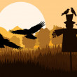 Scarecrow with flying crows in autumn countryside field landscap — Stock Vector #14785615