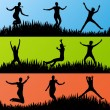 Colorful jumping children silhouettes background vector - Stock Vector
