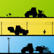 Royalty-Free Stock Vectorafbeeldingen: Agriculture tractors sowing crop, cultivating and spraying in cu