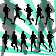 Marathon runners detailed active background vector - Stock Vector