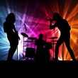 Rock band vector background with neon lights — Stock Vector #14787103