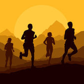Marathon runners in wild nature mountain landscape background — Stock Vector