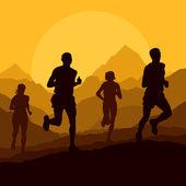 Marathon runners in wild nature mountain landscape background — Stock Vector