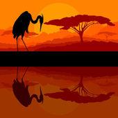 Heron bird silhouette in wild mountain nature landscape backgrou — Stock Vector