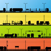 Highway roadway landscape and heavy duty trucks detailed silhoue — Stock Vector
