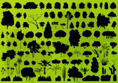 Forest trees silhouettes landscape background vector — Stock Vector