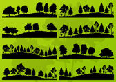 Siluetas de árboles forestales vector de fondo del paisaje — Vector de stock