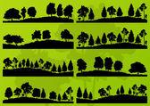 Sagome di alberi di foresta panorama vettore sfondo — Vettoriale Stock