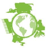 Combine harvester world ecology — Stock Vector