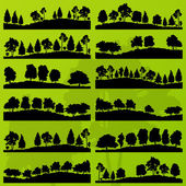 Forest trees silhouettes landscape background vector — Vector de stock