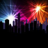 Firework over city vector background — Stock Vector