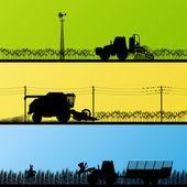 Zemědělské traktory a kombajny v polích pěstuje země — Stock vektor