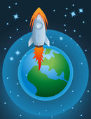 Rocket going out of atmosphere and earth globe vector — Stock Vector