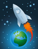 Rocket going out of atmosphere and earth globe vector — ストックベクタ