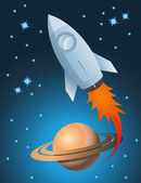 Rocket and Saturn vector background — Stock Vector