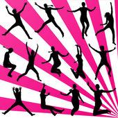 在跳跃的年轻女子图集合剪影 — 图库矢量图片