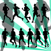 Marathon runners detailed active background vector — Stock Vector