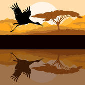 Crane flying in wild mountain nature landscape — Stock Vector