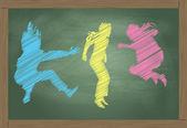 Saltar pizarra niños hecha de vector de tiza colores — Vector de stock