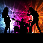 Rock band vector background with neon lights — Vetorial Stock