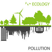 Green ecology city against pollution vector background — Stock Vector