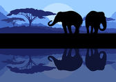 Elephant family in wild Africa mountain nature landscape backgro — Stock Vector