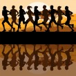 Man and women marathon runners - Stock Vector